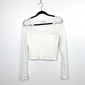 Abercrombie & Fitch Lacey White Long Sleeve Crop